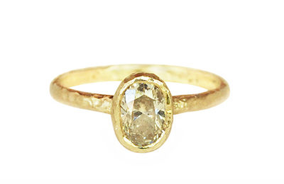 Alternative engagement ring with an oval champagne diamond, made in Canada