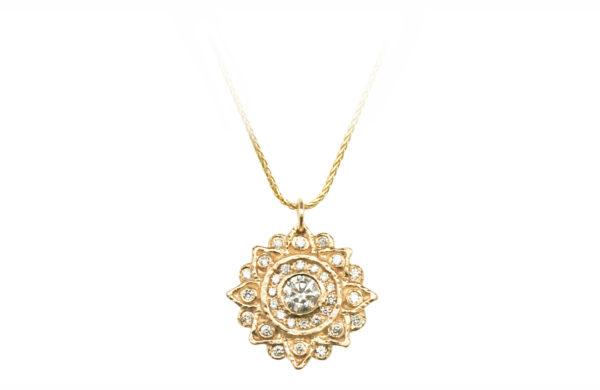 Mandala diamond necklace with diamond halo