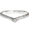 small diamond textured wedding band hand made in Toronto, Canada