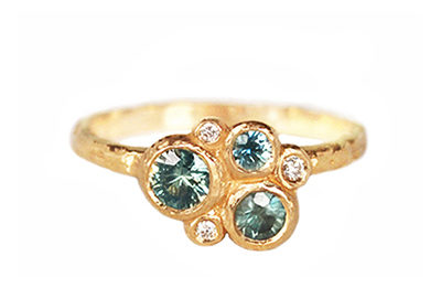 unique cluster ring with seafoam sapphires and diamonds, one of a kind ring design