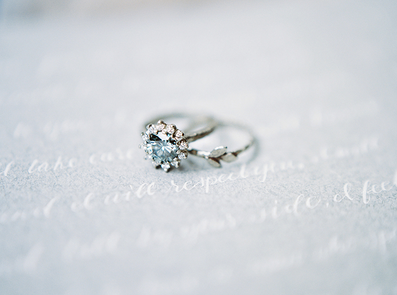 Blue moissanite non-traditional engagement ring inspired by vintage rosetta, made in Canada