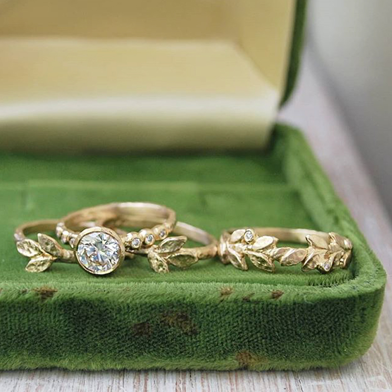 Nature-inspired wedding bands and golden leaves rings, alternative engagement ring made in Toronto, Canada