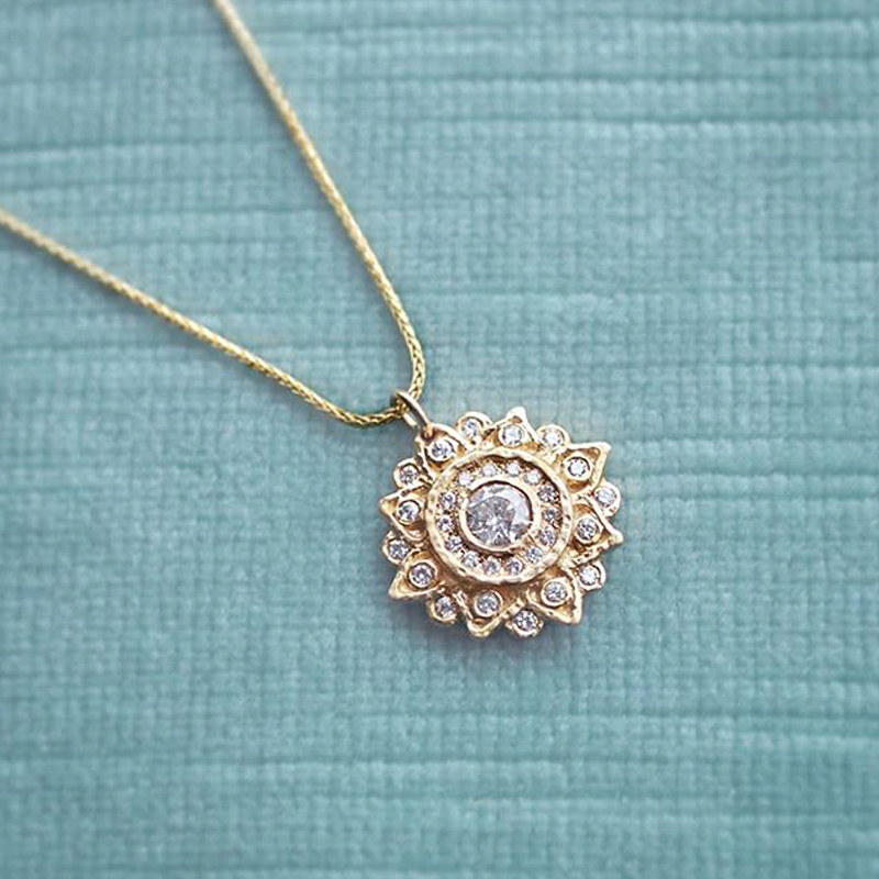 Mandala inspired diamond necklace, spiritual jewelry made in Toronto, Canada