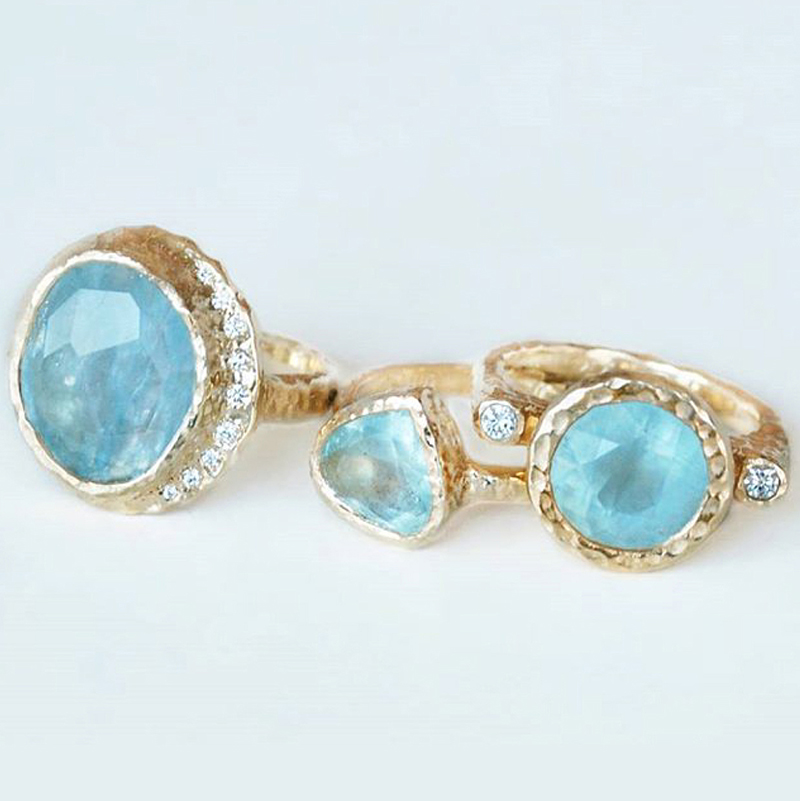 One-of-a-kind heirloom rings with aquamarines and teal sapphires, hand created in Toronto, Canada