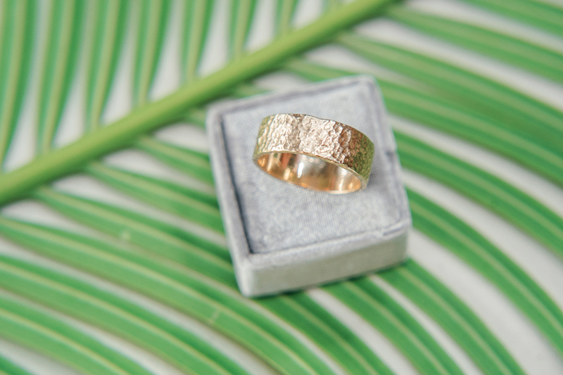 Textured Mens wedding band, Seashore style gold band made in Toronto, Canada