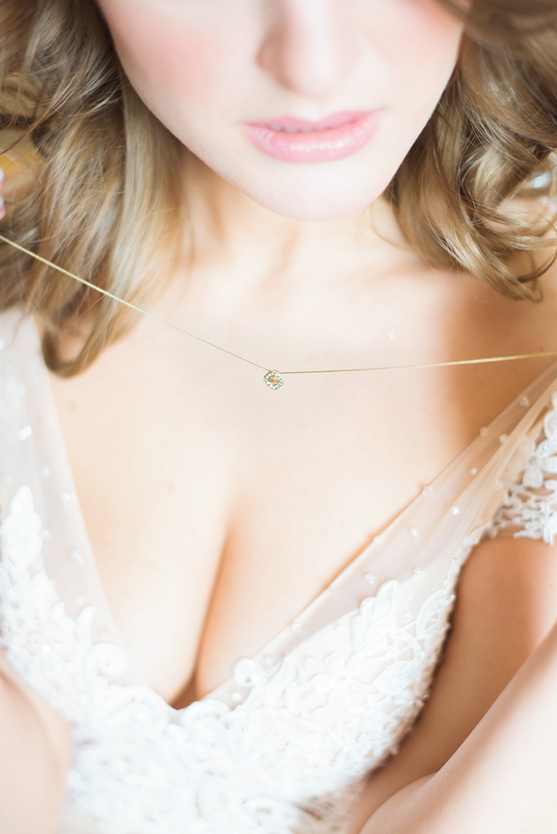 champagne diamond, raw diamond halo necklace for natural brides