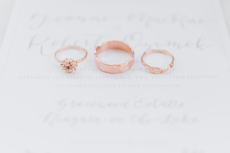 rose gold wedding bands and vintage diamond engagement ring