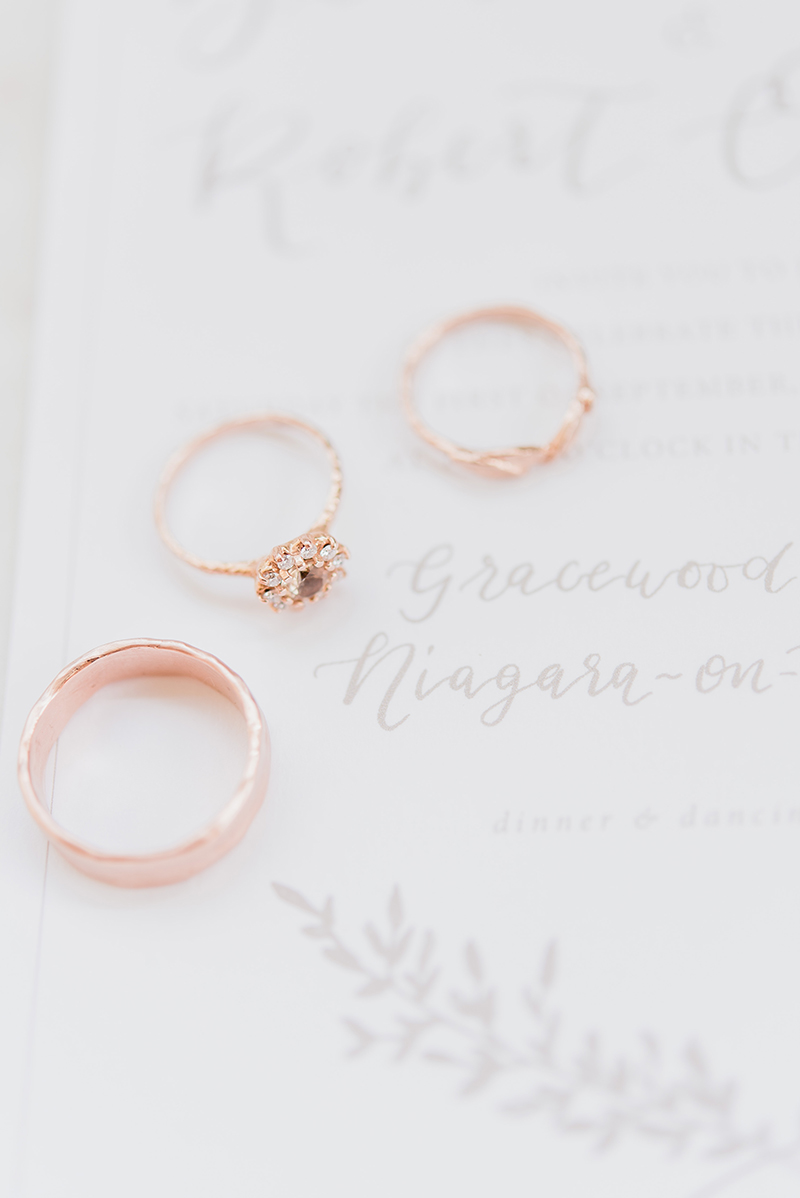 Champagne diamond vintage rosetta ring, rose gold wedding bands