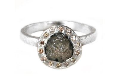 Rustic Chocolate Diamond Halo Ring