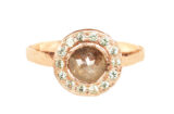 Bezeled rustic diamond halo