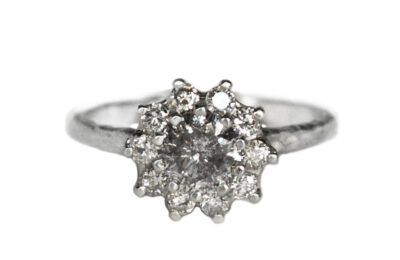 Salt And Pepper Diamond Vintage Rosetta Ring