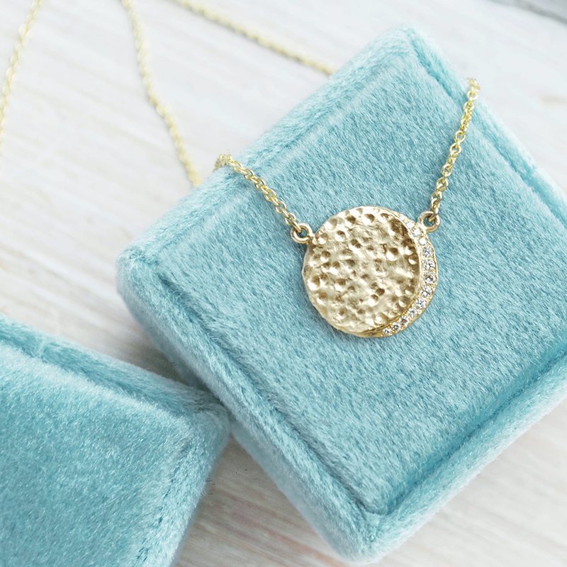 Moon Crescent gold necklace with diamonds