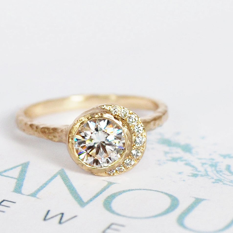 Diamond and gold unique engagement ring