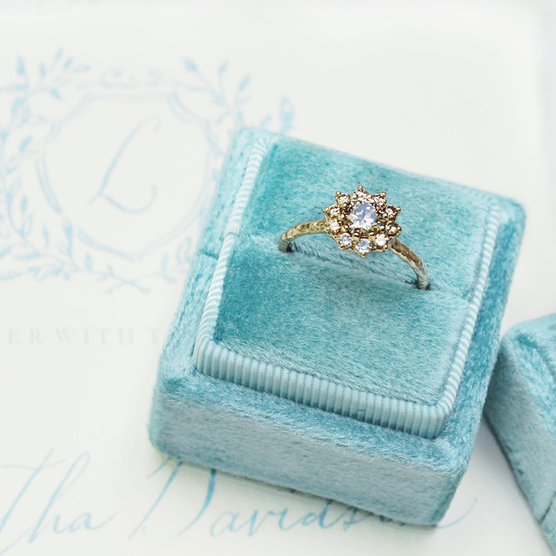 Vintage inspired ring with diamonds, alternative engagement