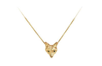 golden fox with green diamond eyes necklace