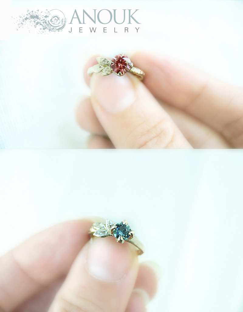 pink diamond gold engagement ring, blue sapphire engagement ring with gold leaves