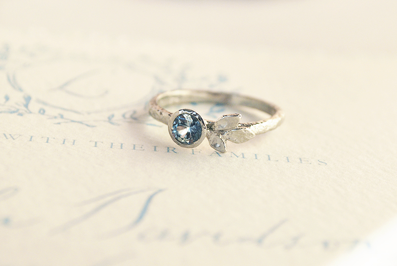 Blue sapphire white gold engagement ring inspired by nature