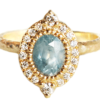 Oval Montana sapphire and diamonds ring, made in Canada