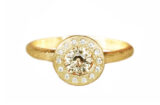 champagne sapphire diamond halo engagement ring made in Canada