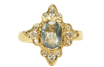 rustic blue sapphire and diamond ring from Canada