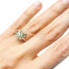 yellow sapphire and diamonds vintage rosetta ring on hand