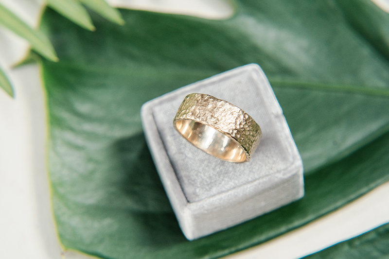 hammered gold mens wedding band made in Canada