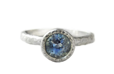 Light blue sapphire ring in white gold