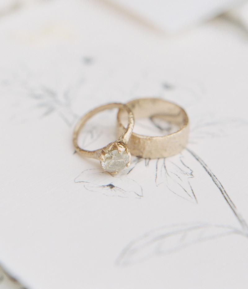 Seashore Mens Wedding Band, Rustic Diamond Alternative Engagement Ring made in Canada